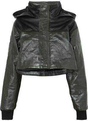 SPRWMN - Cropped Two-tone Quilted Leather Jacket - Dark green