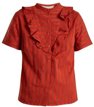 Ace&Jig Fiona Ruffle Trimmed Striped Cotton Blouse - Womens - Dark Orange