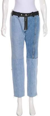 Beau Souci Mid-Rise Leather-Trimmed Jeans w/ Tags