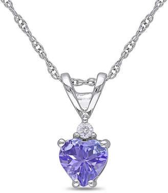 JCPenney FINE JEWELRY Genuine Tanzanite & Diamond-Accent 10K White Gold Heart Pendant Necklace