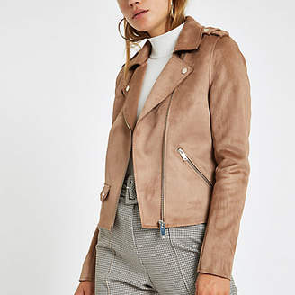 River Island Light brown faux suede biker jacket