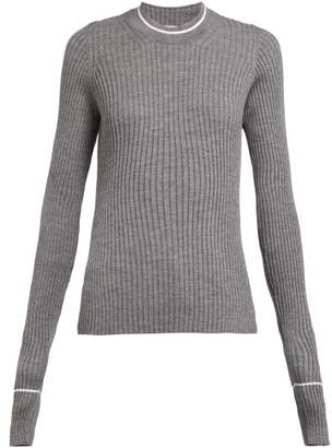 Maison Margiela Extra Long Sleeved Rib Knit Wool Blend Sweater - Womens - Grey