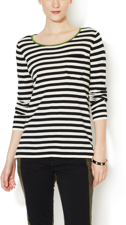 Trovata Cotton Striped Scoopneck Sweater