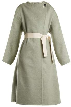 Isabel Marant - Fargo Oversized Tie Waist Wool Blend Coat - Womens - Light Green