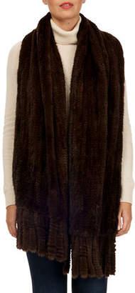 Gorski S-Cut Mink Fur Stole w/ Fringe Trim