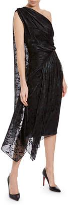 Halpern One-Shoulder Jacquard Jersey Cocktail Dress