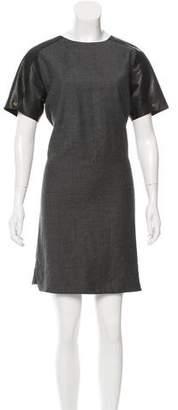 Derek Lam Leather-Trimmed Wool Dress