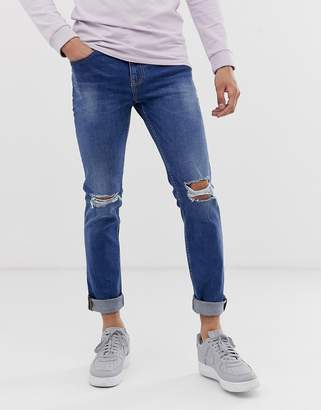 slim fit jeans in blue wash