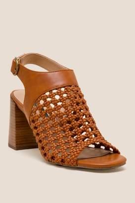 Kensie Sandria Basketweave Block Heel - Tan