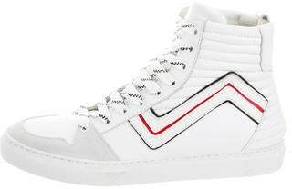Les Hommes Leather High-Top Sneakers