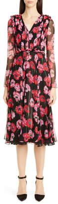 Jason Wu Collection Poppy Print Silk Chiffon Long Sleeve Dress