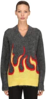 Prada Flames Mohair & Wool Knit Sweater