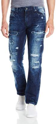 Southpole Young Men's Slim Straight Denim With Destructed Backed Repaired Pants, -, 36X32