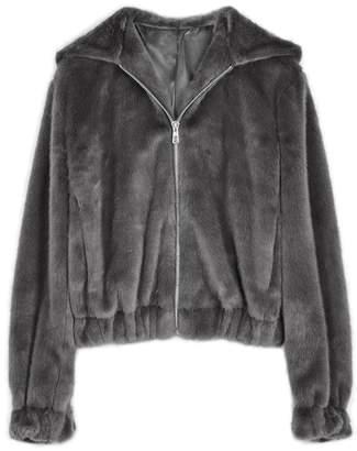 Helmut Lang Grey Hooded Faux Fur Jacket