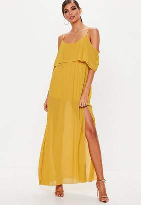 Missguided Mustard Cold Shoulder Split Maxi Dress