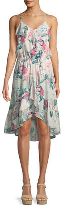 Parker Saylor Floral-Print Silk Wrap Dress