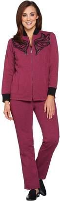 Bob Mackie Bob Mackie's Embroidered Sequin Knit Jacket and Knit Pants Set