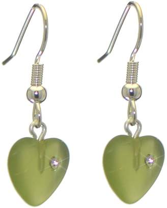 Glass Heart AJ Fashion Jewellery CORAZON pressed with inset crystal hook earrings