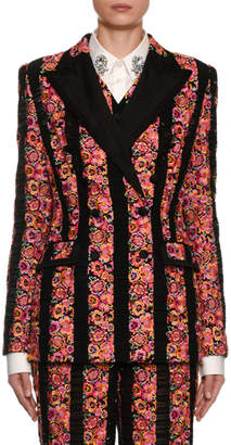 Dolce & Gabbana Double-Breasted Rose Striped Jacket