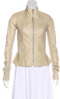 Rick Owens Collarless Leather Jacket