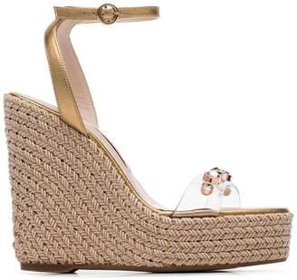 Sophia Webster gold Dina 140 leather wedge sandals