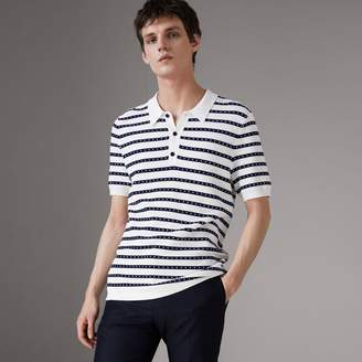 Burberry Striped Knitted Cotton Polo Shirt , Size: M, White