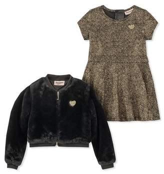 Juicy Couture Metallic Dress & Faux Fur Jacket Set (Little Girls)