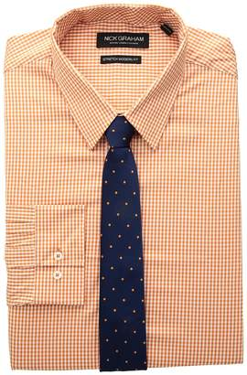Nick Graham Mini Gingham Stretch Dress Shirt with Solid Herringbone Tie Men's Long Sleeve Button Up