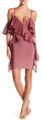 Wow Couture Ruffle Trim Cold Shoulder Dress