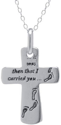 SILVER TREASURES Silver Treasures Sterling Silver Footprints Cross Pendant Necklace