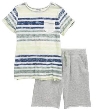 Splendid Reverse Stripe Shirt & Knit Shorts Set