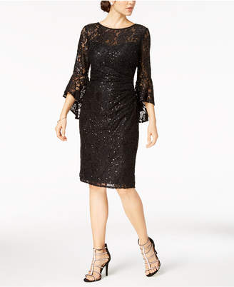 Night Way Nightway Lace Bell-Sleeve Sheath Dress