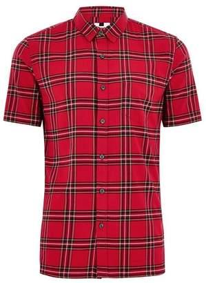 Topman Mens Red Tartan Slim Shirt