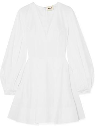 Khaite Denise Pleated Cotton-poplin Mini Dress