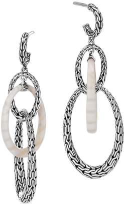 John Hardy Classic Chain Silver White Agate Drop Earrings