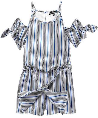 My Michelle mymichelle Striped Off-the-Shoulder Romper (Big Girls)