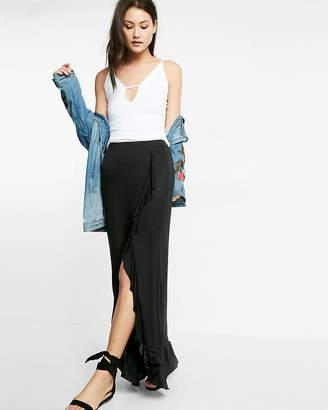 Express Ruffle Front Wrap Maxi Skirt