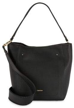 Calvin Klein Whip-Stitch Leather Hobo Bag