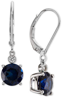 Macy's Lab-Created Sapphire (2-7/8 ct. t.w.) & White Sapphire Accent Drop Earrings in Sterling Silver (Also Available in Lab-Created Emerald & Ruby)