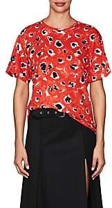 Proenza Schouler WOMEN'S TIE-BACK FLORAL COTTON T-SHIRT-RED SIZE L