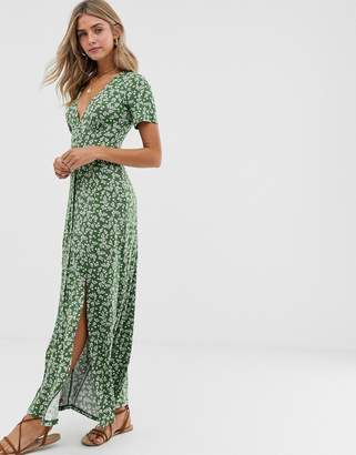 Asos Design DESIGN button through maxi tea dress with splits in ditsy print