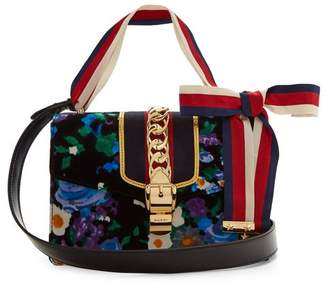 Gucci Sylvie Floral Print Velvet Shoulder Bag - Womens - Blue Multi