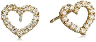 Swarovski 10K Yellow Gold Crystals Heart Stud Earrings