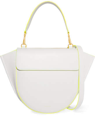 Hortensia Wandler Medium Neon-trimmed Leather Shoulder Bag - White