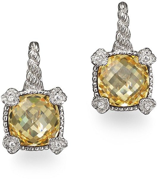 Judith Ripka Small Cushion Stone Earrings with 4 Hearts in Canary Crystal