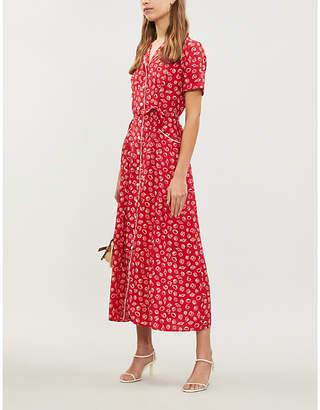 HVN Long Maria seashell-print silk shirt dress