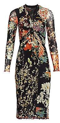 Etro Women's Patchwork Floral Ruched Jersey Midi Dress