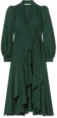 Anna Mason - Stella Ruffled Wool-crepe Wrap Dress - Dark green