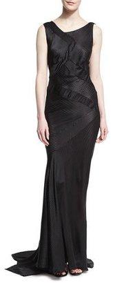 Zac Posen Striped Charmeuse Asymmetric Sleeveless Gown, Black $3,490 thestylecure.com