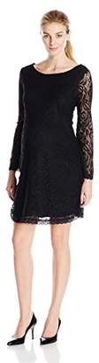 Three Seasons Maternity Women's Bell Long Sleeve Lace Solid Dress